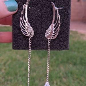 Silver Chain Jewel Angel Wings Ear Cuff Earrings
